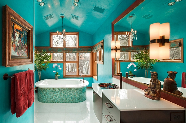 Gorgeous freestanding bathtub accentuates the color scheme of the bathroom