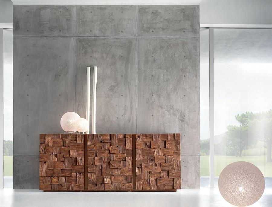 Gorgeous wooden decor made from random sized oak blocks