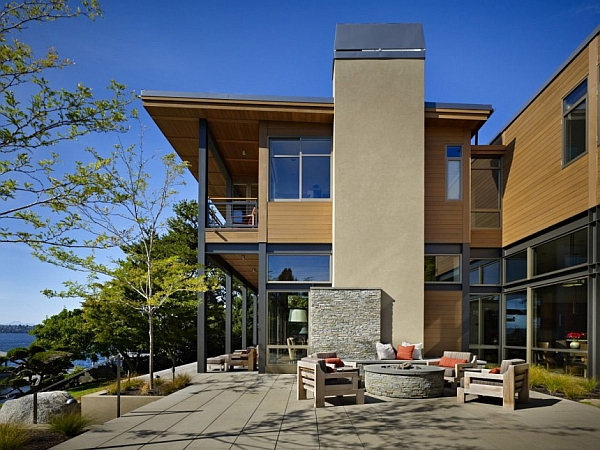 Grand glass and steel lakeside structure