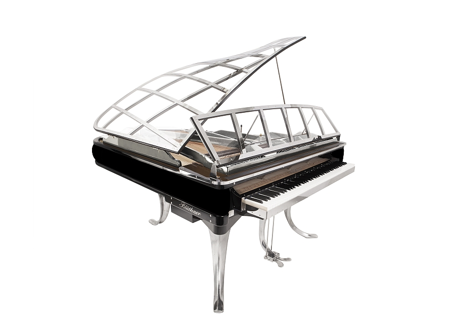 Grand piano in classic black and silver