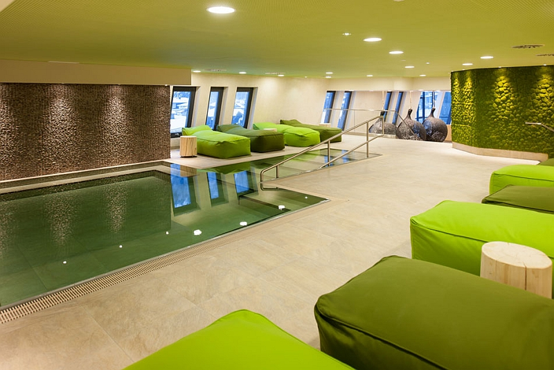 Green interiors of the refreshing spa
