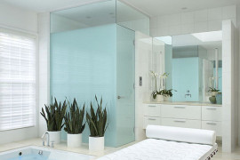 Greenery in a contemporary bathroom
