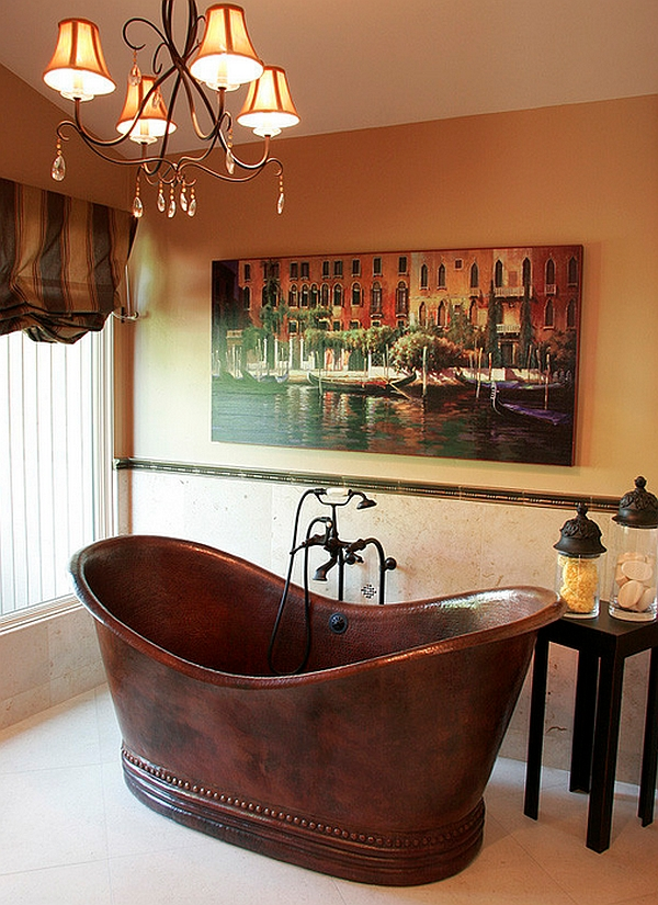 Hammered-copper tub stands proudly as an artistic masterpiece