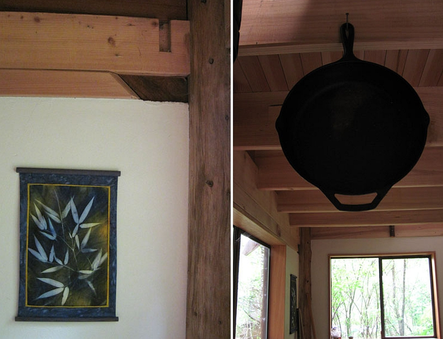Hanging Utensil and Japanese styled painting on the wall