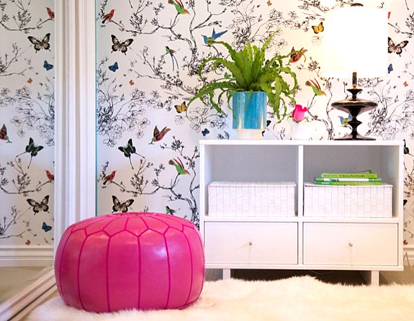 Hot pink bedroom pouf