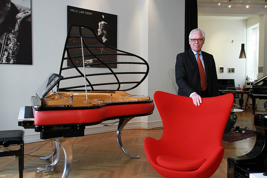 Iconic Egg Chair with the PH Piano and owner of the company Flemming Lindeløv