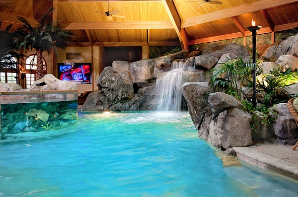 Indoor pools can also feature equally impressive waterfall features