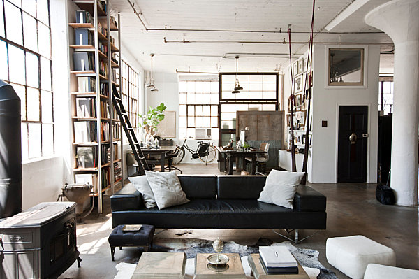 industrial new york living room with exposed pipes