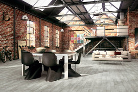 Industrial dining room in a warehouse apartment