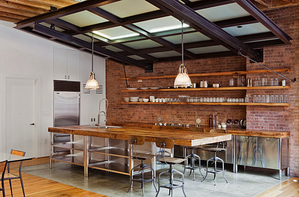 Industrial kitchen with vintage-style seating