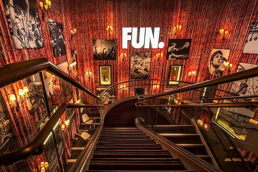 Inspirational stairwall gallery at the Hard Rock Hotel