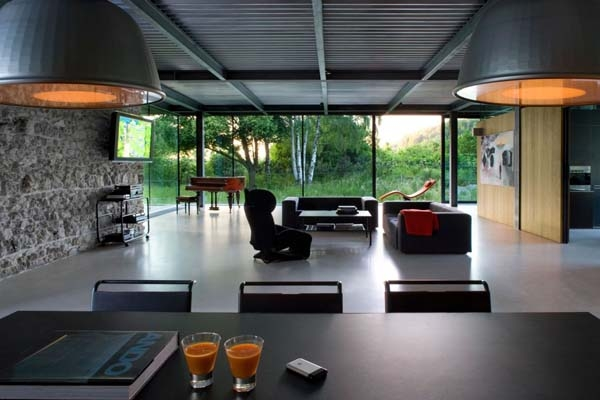 Inteior of the contemporary steel frame structure house