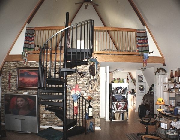 Interior of the cool A-frame house