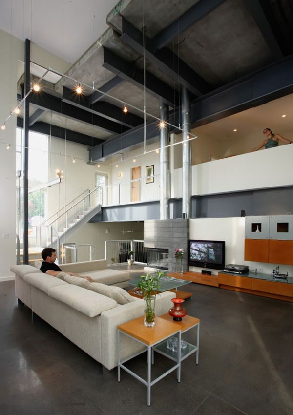 Interior with exposed metal beams offers a touch of industrial style