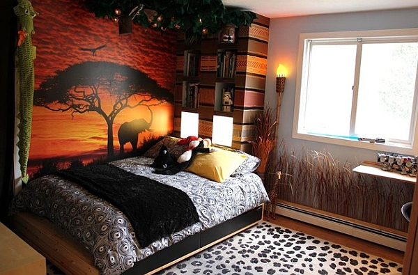 african design style view in gallery kids bedroom with colorful safari theme - African Bedroom Decorating Ideas