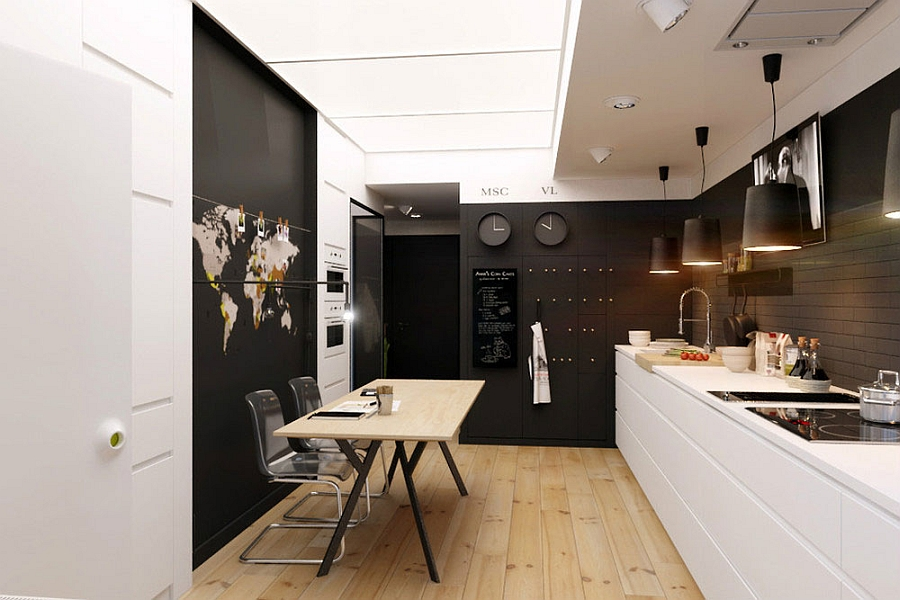 Kitchen and dining area in black and white