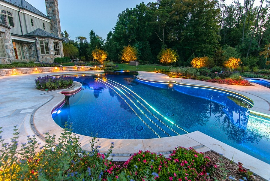LED lighting idea for outdoor pool