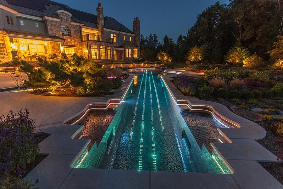 LED lights inside the pool act as Stradivarius violin strings