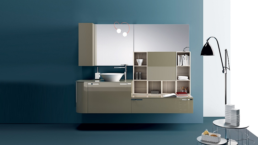 Lacquered cabinets in the bathroom for a minimalist look