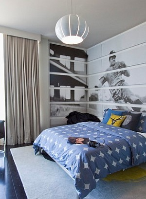 Large baseball themed wall mural liiks simply stunning