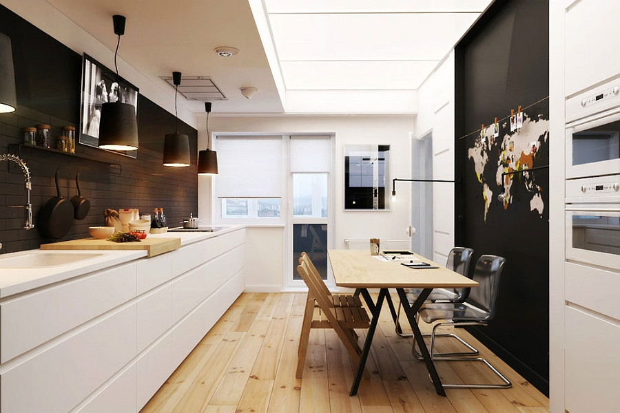 Large black pendants above the kitchen counter