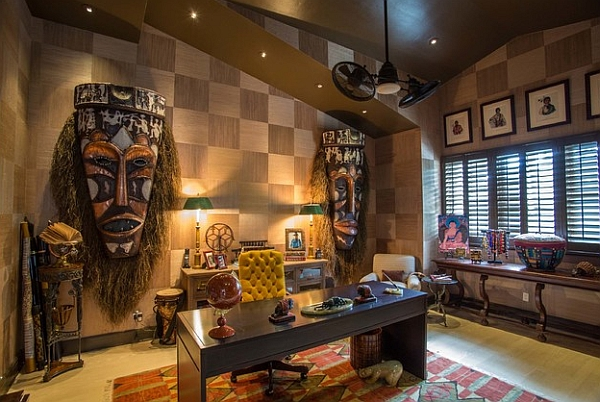 Large masks on the wall for an exotic and audacious home office design