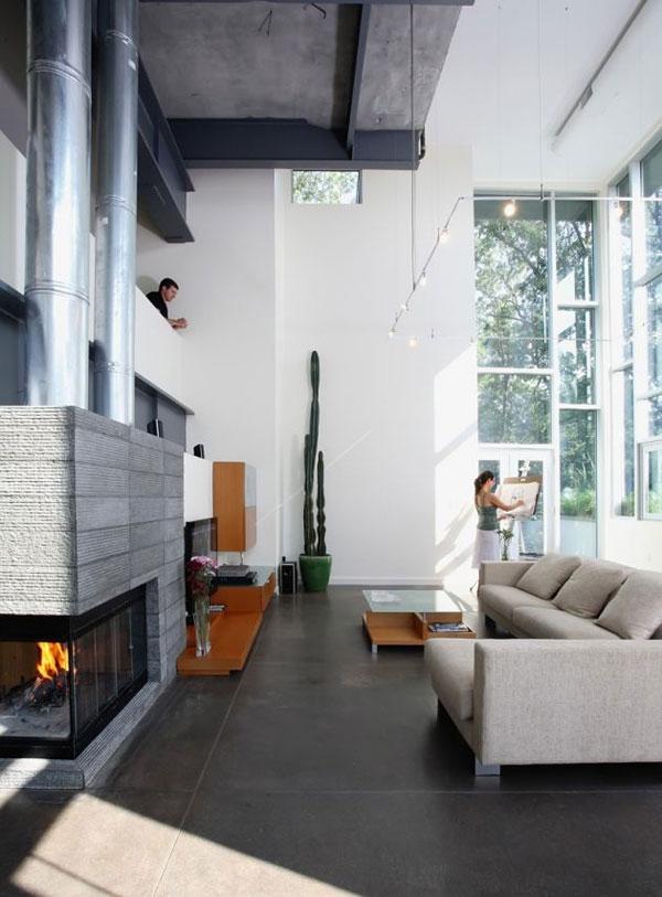 Lavish interior with cozy fireplace