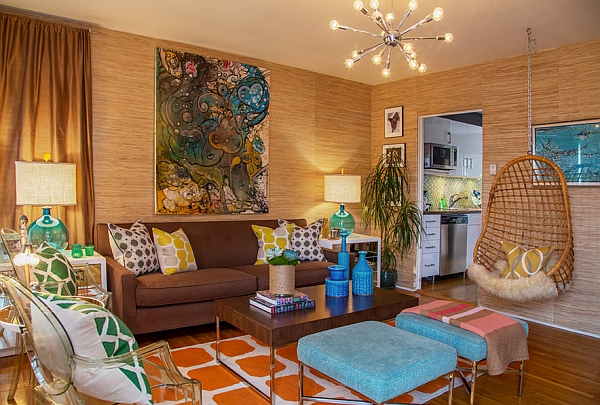 living room combines several retro decor items even while staying
