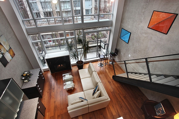 Living room of the loft from the Mezzanaine level Industrial Loft Brings A Dash New York City Charm To Downtown Vancouver!