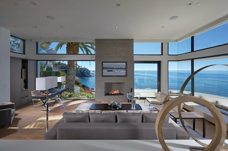 Incredible Beach House In California Brings The Ocean Indoors : Living room with glass walls from www.decoist.com size 800 x 533 jpeg 265kB