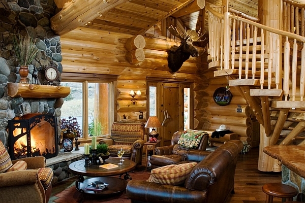 Sturdy Log Cabin Style Interior Design Pictures To Pin On Pinterest