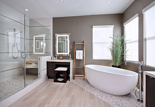 Lovely master bath embraces an organic Japanese look