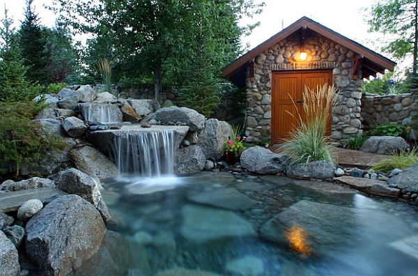 Breathtaking pool waterfall design ideas for Yard waterfalls