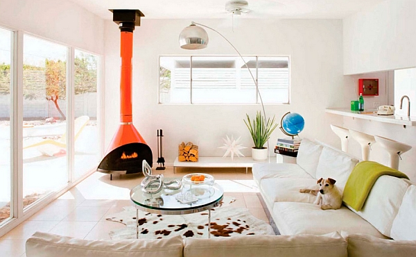 Malm Lancer fireplace in bright orange does the trick here