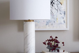 Marble pillar table lamp