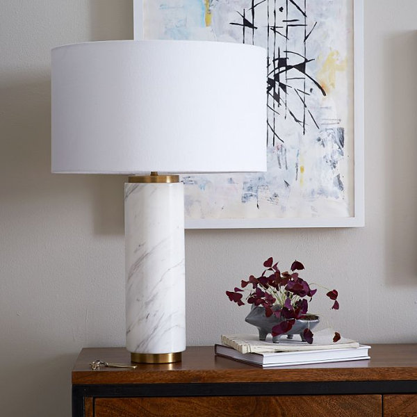 marble table lamp from cb2 crafted of sculptural marble mined from. Black Bedroom Furniture Sets. Home Design Ideas