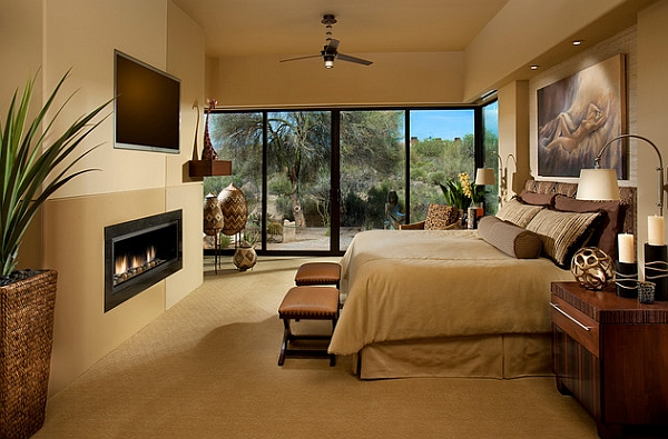Master bedroom with warm neutral tones
