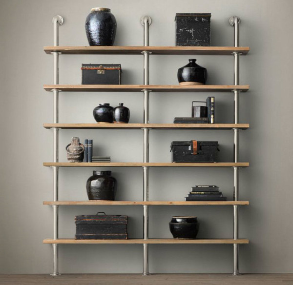 Metal and wood industrial design style shelves