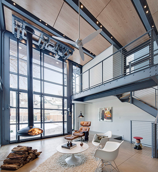 view in gallery metal staircase in an industrial home - Industrial Interior Design Ideas