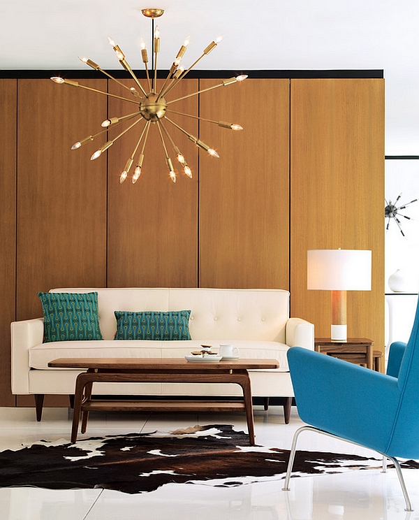 Mid century Modern Satellite Chandlier in a contemporary living room Contemporary Chandeliers That Dazzle With Their Heavenly Charm!