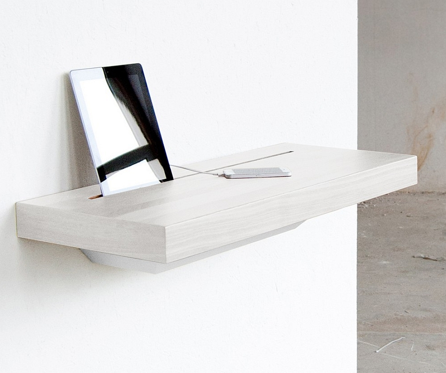 Minimal, wall mounted charging station shelf