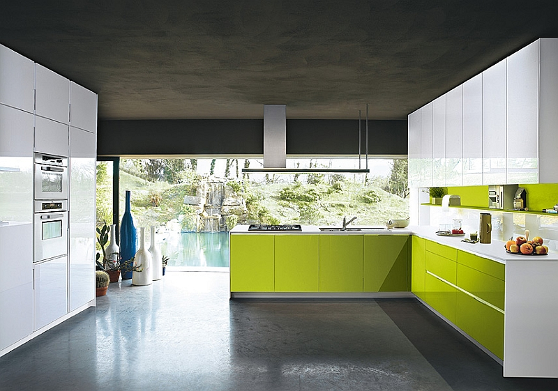 Modern Orange kitchen in green and white