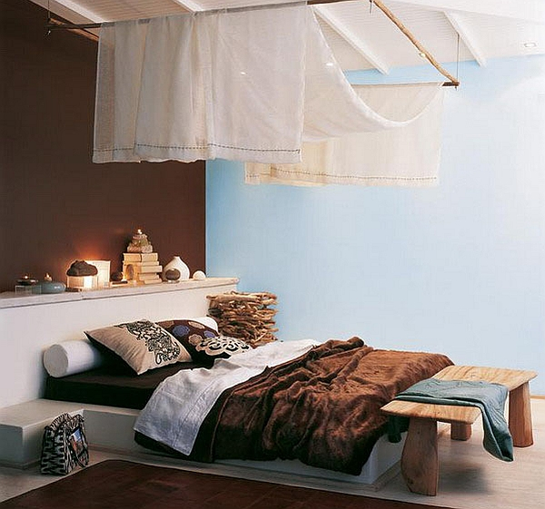 Modern bedroom with cool African style