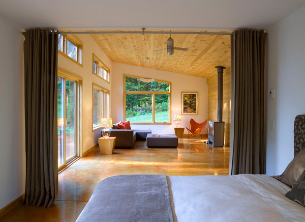 view in gallery modern cabin with divider curtain - Small Cabin Interior Design Ideas
