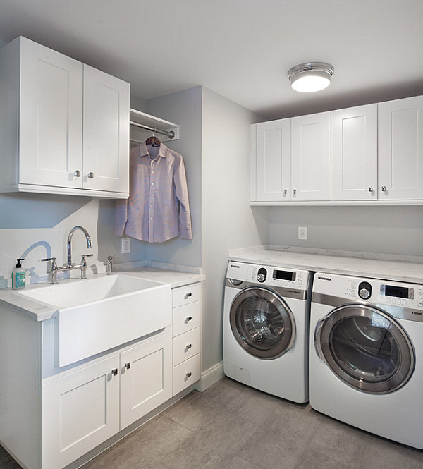 Modern clean-lined laundry room