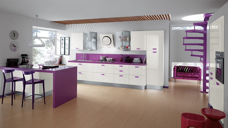 Modern kitchen in purple and white