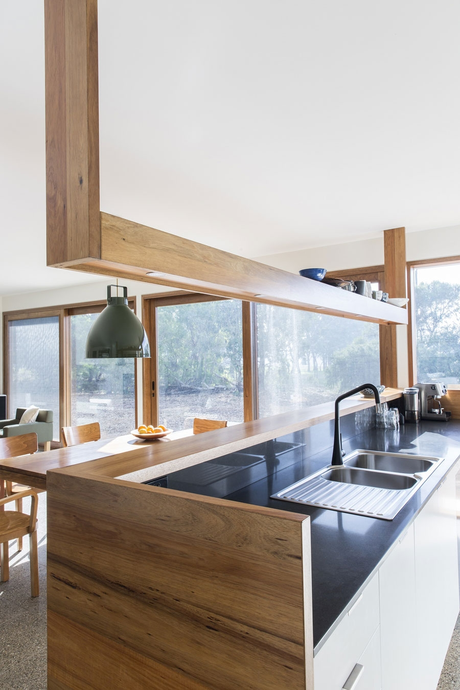 Modern kitchen island with serving area