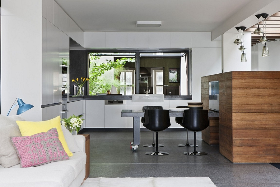 Modern kitchen with dining space