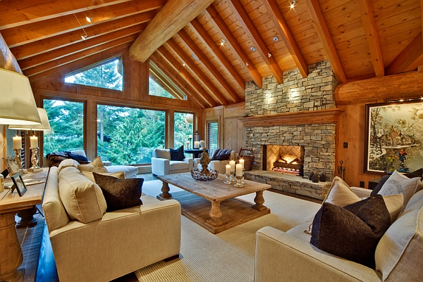 Modern living room inspired by log cabin design decoist for Interior designs for log homes