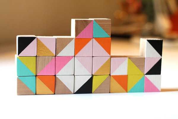 Modern wooden cube blocks